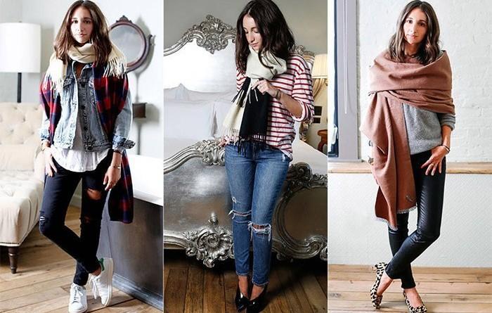 Учимся носить шарф хомут: 7 разных способов
