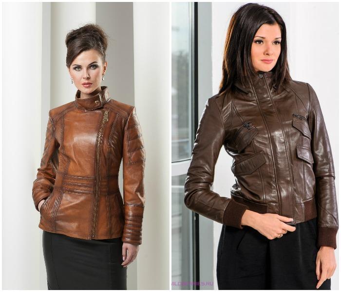 Образ с кожаной курткой коричневого цвета