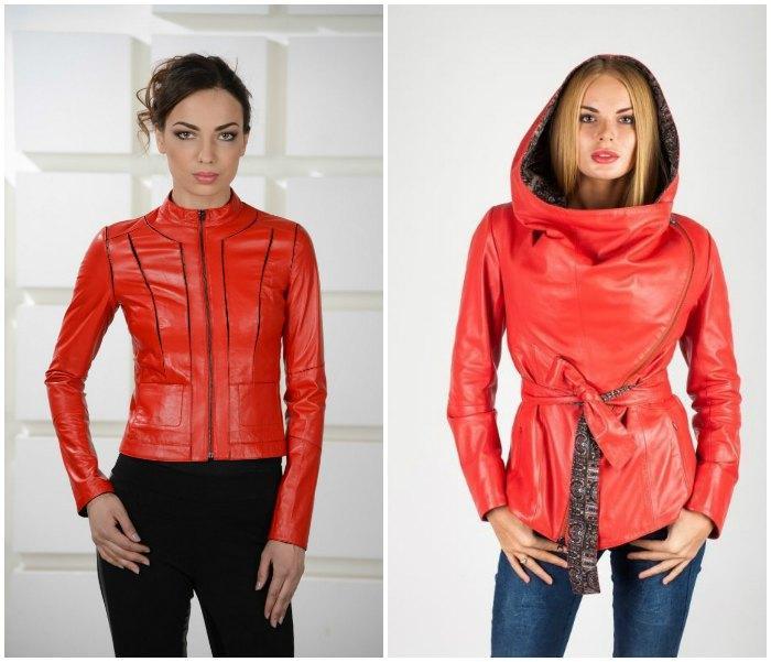 Образ с кожаной курткой красного цвета