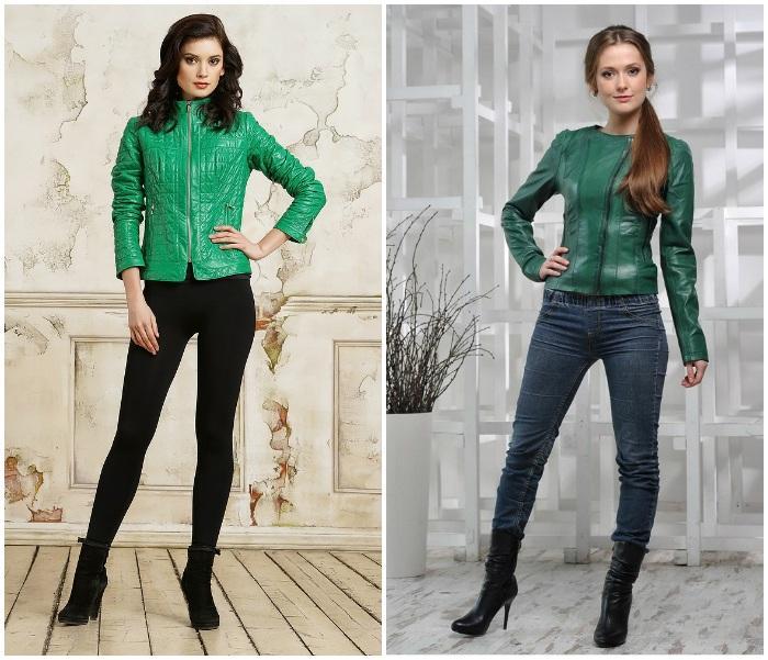 Образ с кожаной курткой зеленого цвета