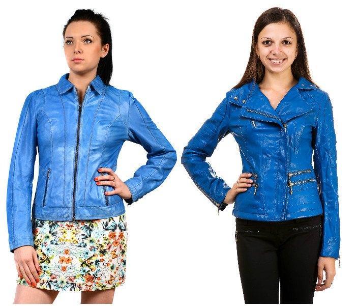 Образ с кожаной курткой голубого цвета