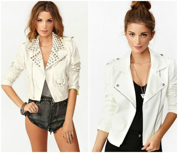 Образ с кожаной курткой белого цвета