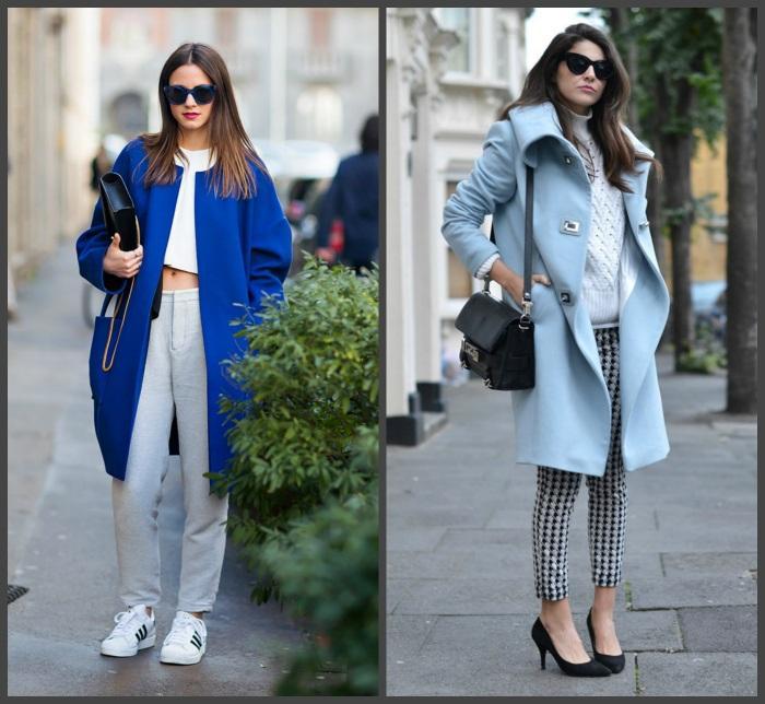 Синее и голубое пальто для создания образа