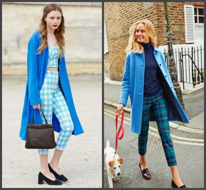 Сочетание голубого пальто с брюками