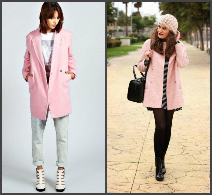 Розовое пальто для создания образа