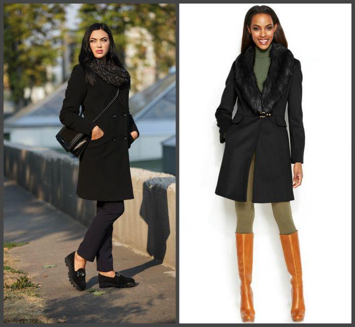 Черное пальто для создания образа
