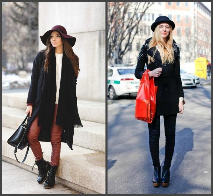 Сочетание черного пальто с шляпкой