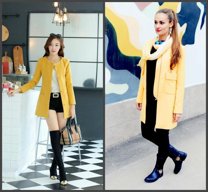 Желтое пальто для создания образа