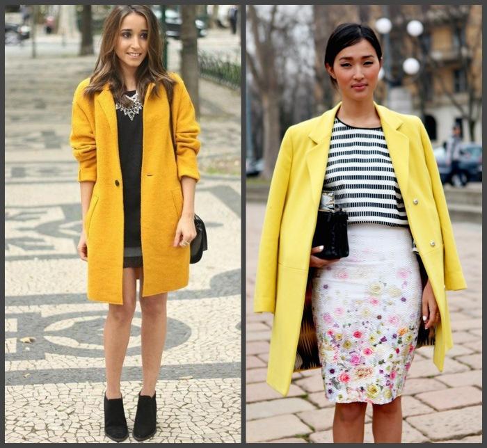 Сочетание желтого пальто с юбкой