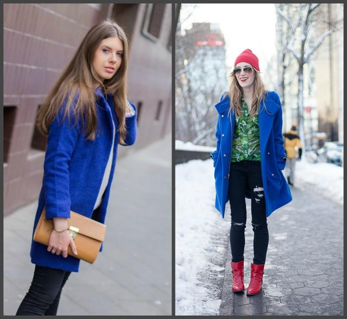 Синее пальто для создания образа