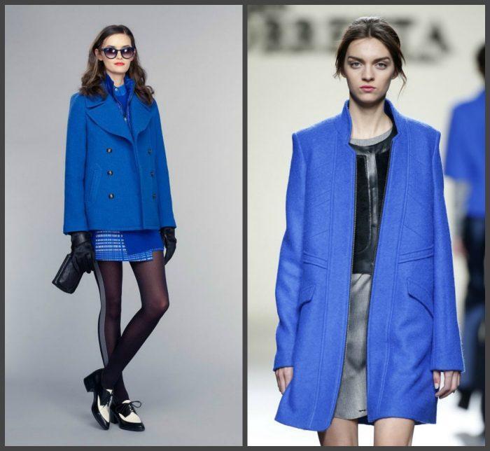 Сочетание синего пальто с юбкой