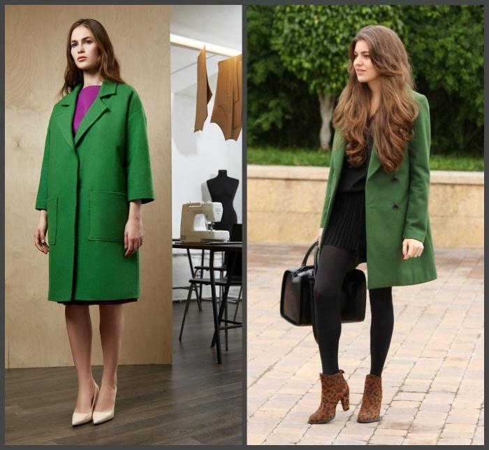 Зеленое пальто для создания образа