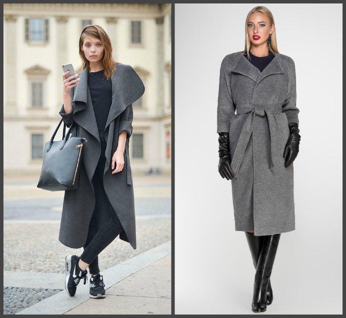 Серое пальто для создания образа