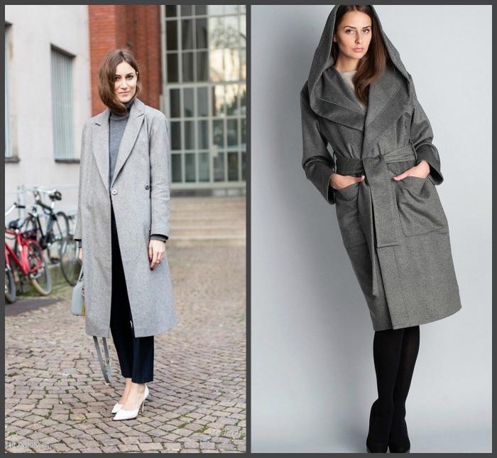 Серое пальто и черные брюки