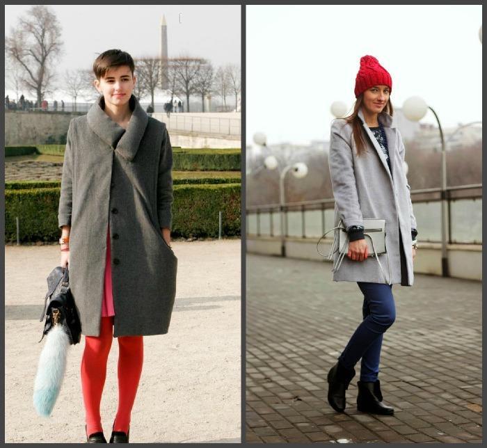 Серое пальто в сочетании с красным тоном