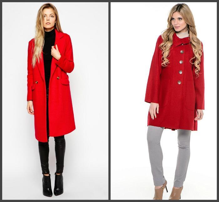 Красное пальто для создания образа