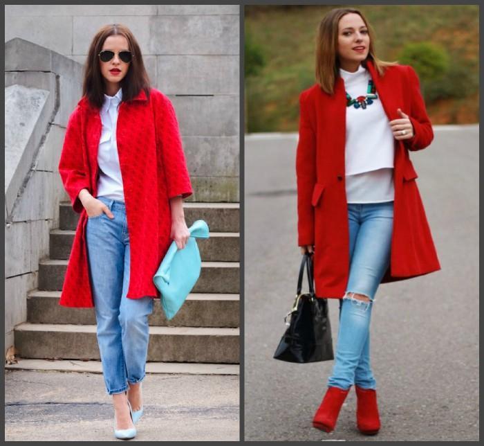 Красное пальто с джинсами для создания образа