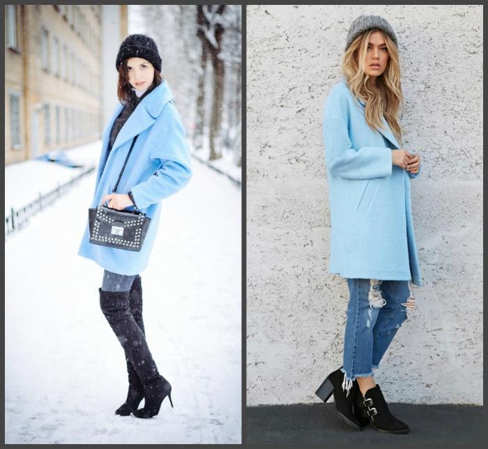 Голубое пальто для создания образа