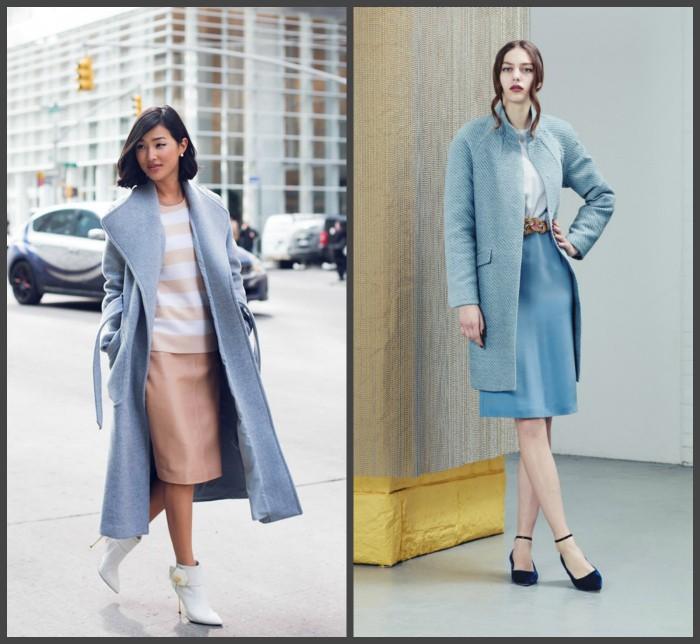 Сочетание голубоо пальто с прямой юбкой