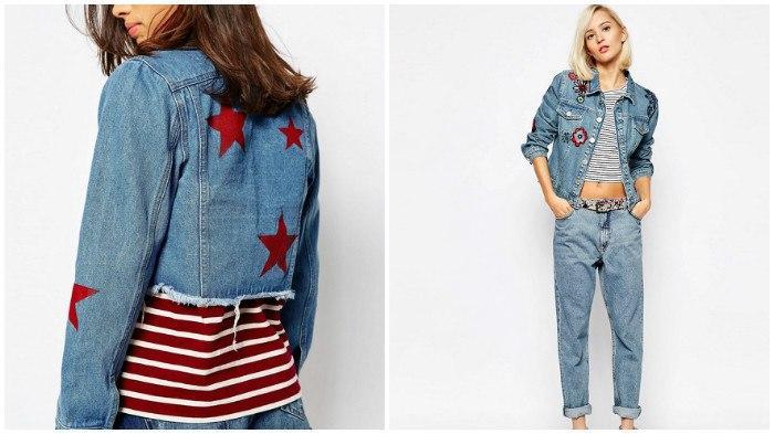 Стильные вставки на джинсовых куртках