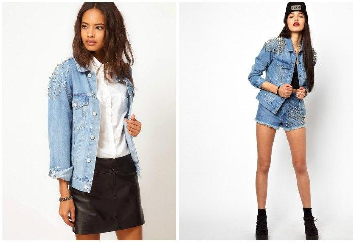 Дерзкий образ джинсовой куртки с шипами