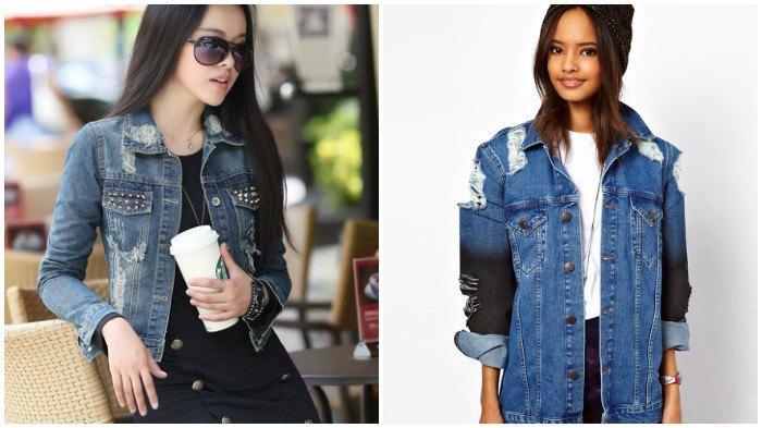 Модные джинсовые куртки с декоративными дырками