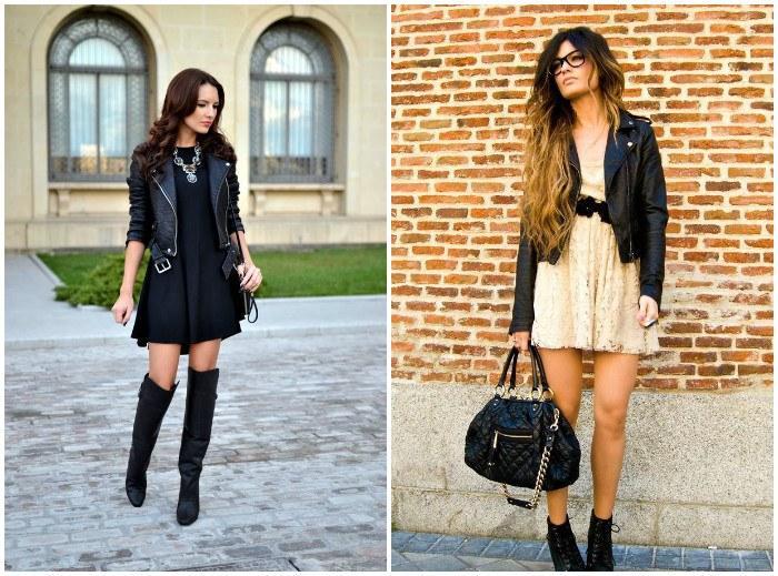 Образ куртки-косухи с короткими платьями