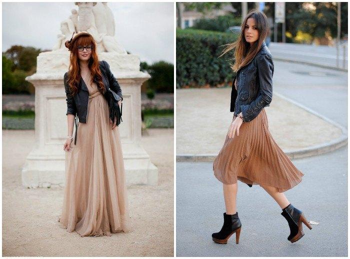 Модный образ куртки-косухи с легкими платьями