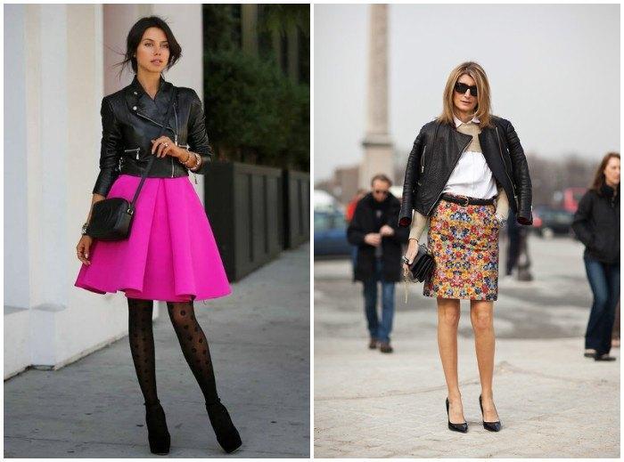 Модное сочетание куртки-косухи с юбками