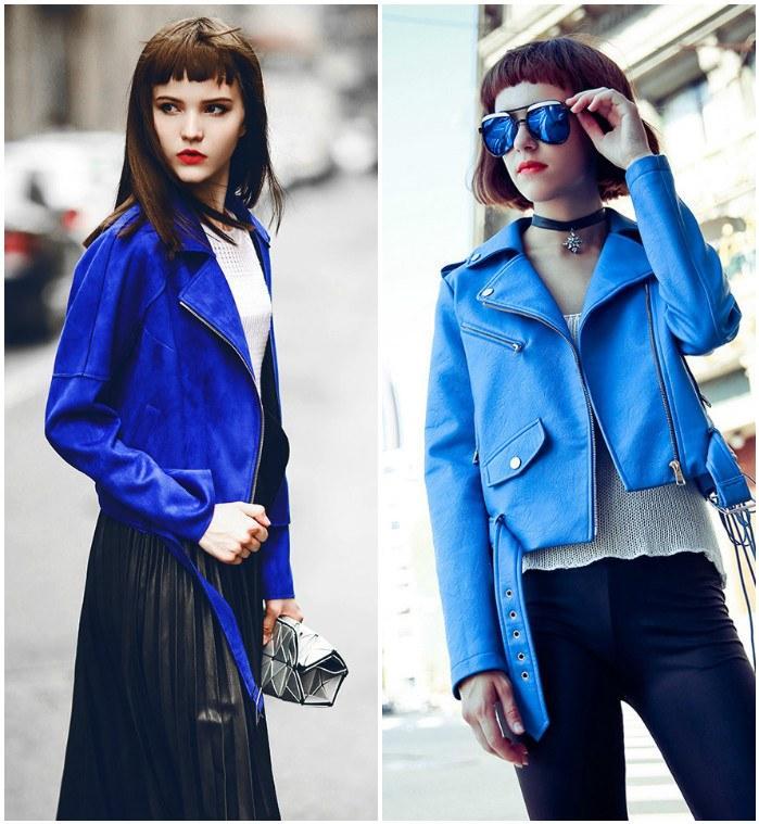Сочетание синей куртки-косухи с одеждой