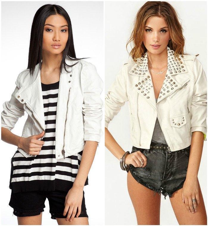 Легкий образ с белой курткой-косухой