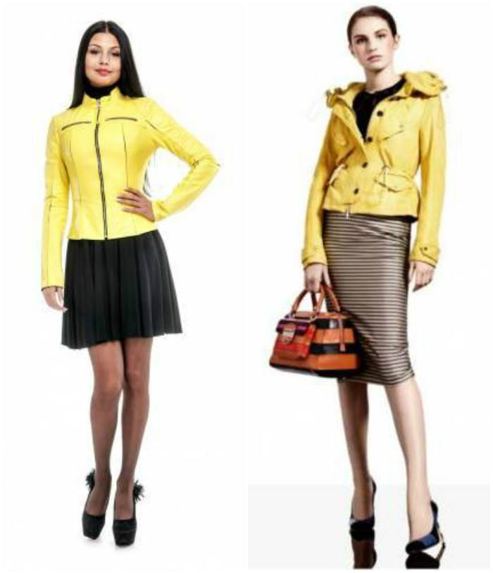 Яркий образ с желтой кожаной курткой