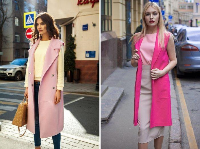 Длинный жилет розового цвета