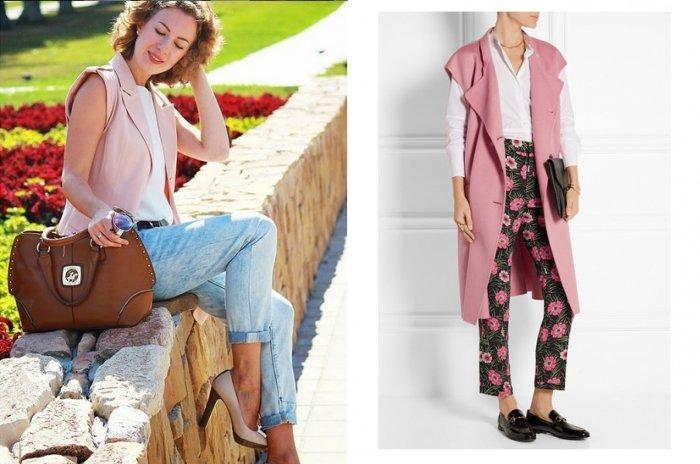 Модный розовый жилет