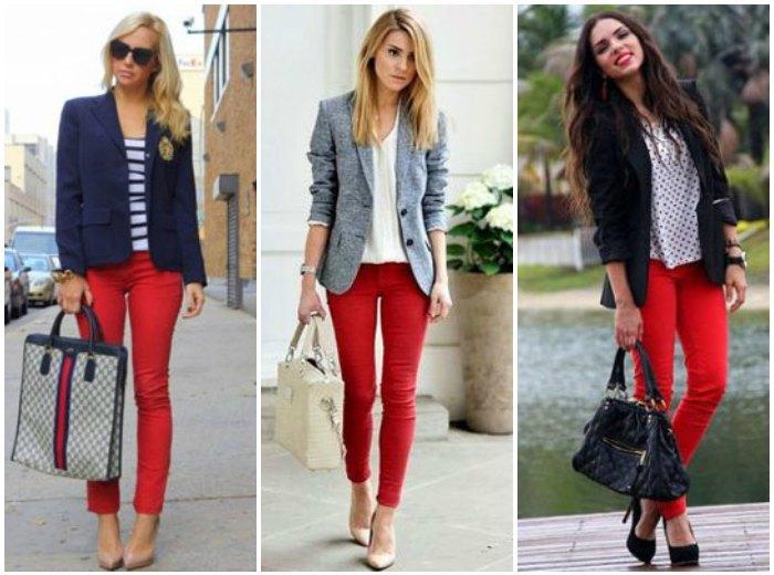 Образ с красными штанами и блейзером