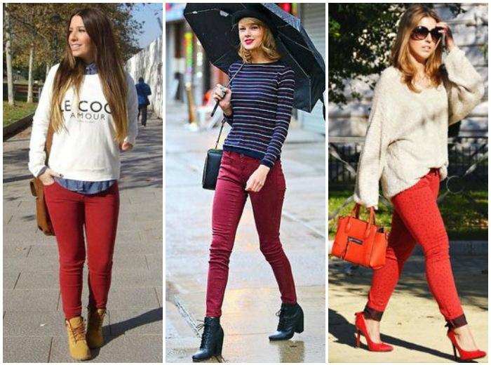 Осенний лук с красными штанами