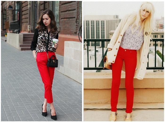 Красные штаны с блузкой
