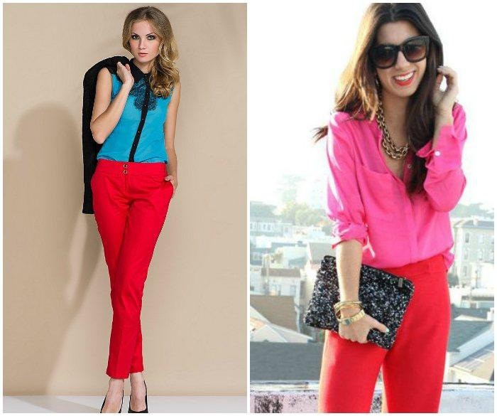 Сочетание красных штанов с ярким верхом