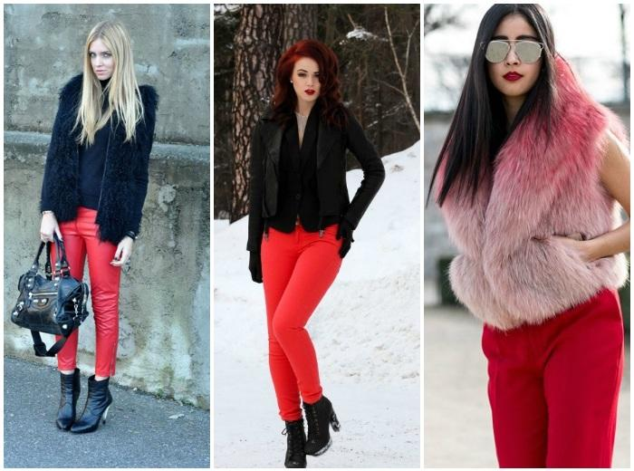 Зимний образ с красными штанами