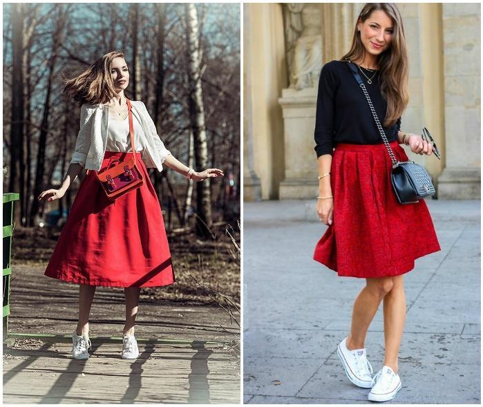 Сочетание красной юбки с белыми кедами