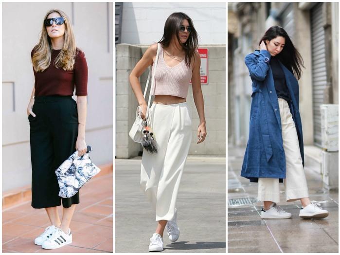 Белые кроссовки и брюки-кюлоты на моделях