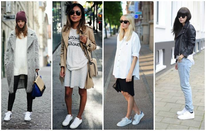 Сочетание белых кроссовок с элементами гардероба