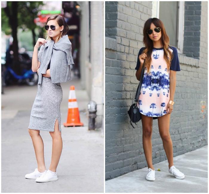 Стиль casual с белыми кроссовками