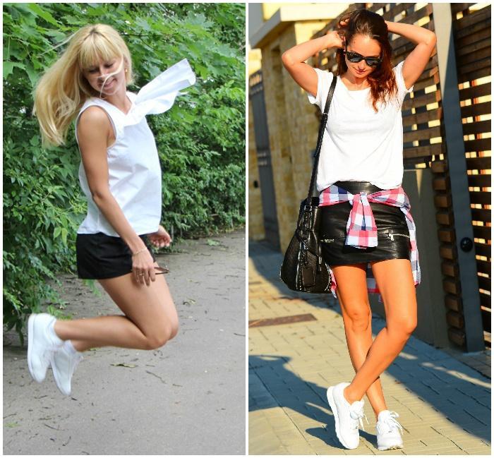 Белые кроссовки с классическими шортами