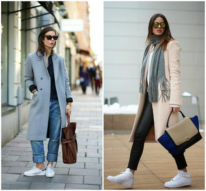 Белые кроссовки и пальто