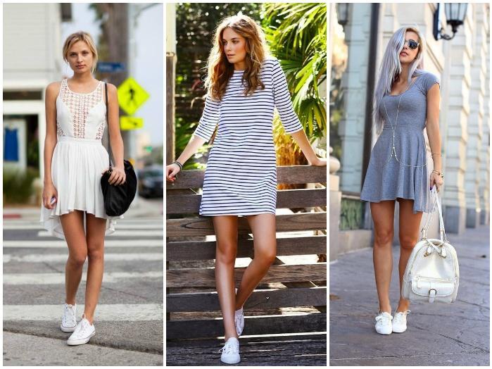 Сочетание белых кроссовок с платьем