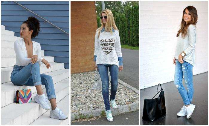 Сочетание белых кроссовок с джинсами
