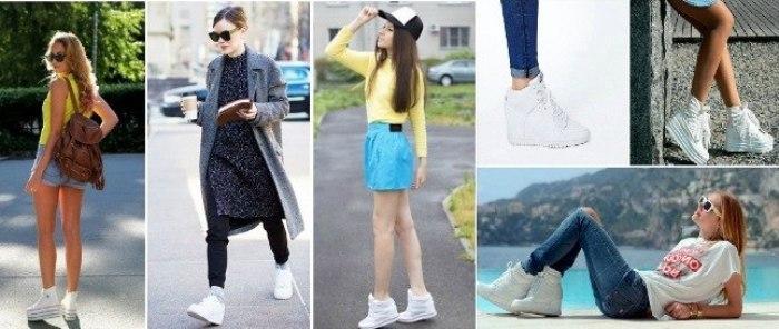 Белые кроссовки с платформой