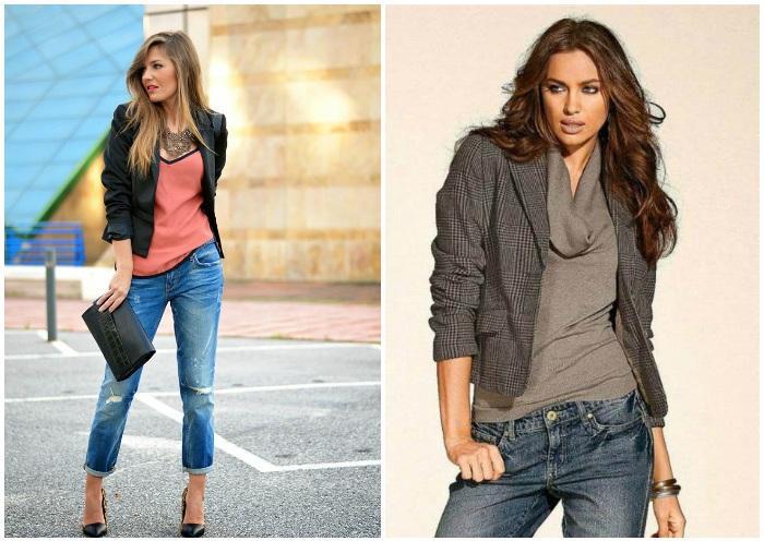 Образ женского блейзера с джинсами