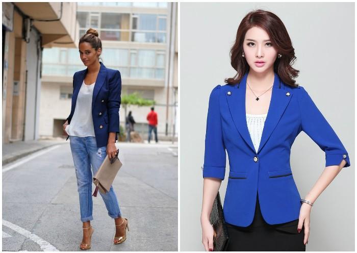 Синий женский блейзер на моделях